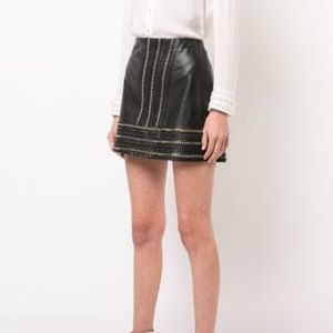 Jaya Leather Mini Skirt w/ Chain Trim